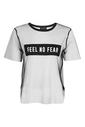 Topshop Tall Feel No Fear Tulle T Shirt Black