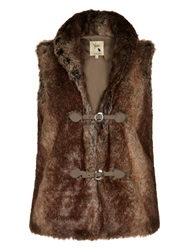 Yumi Faux Fur Gilet Brown