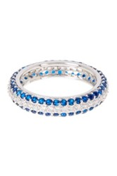 18K White Gold Plated Sterling Silver Pave Blue Cz Eternity Ring