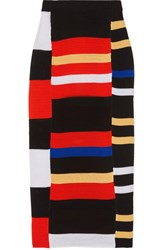 Proenza Schouler Striped Crochet Knit Midi Skirt Red