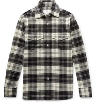 Dunhill Checked Brushed Wool Blend Flannel Shirt Black