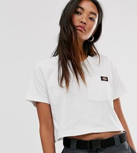 Dickies Crop T Shirt With Pocket Badge White