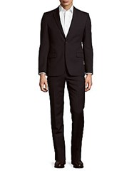Versace Solid Two Button Wool Suit Navy