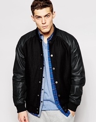 Solid Wool Bomber Jacket With Faux Leather Sleeves Black