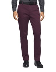 Calvin Klein Stretch Cotton Tapered Pants Barberry