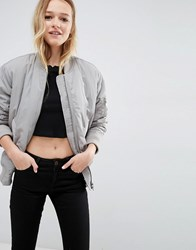 Asos Luxe Padded Bomber Jacket Silver Grey