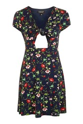 Topshop Floral Print Bow Front Dress Navy Blue