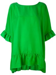P.A.R.O.S.H. Ruffle Detail Blouse Women Silk Xs Green