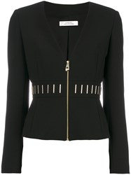 Versace Collection Zipped Fitted Jacket Women Cotton Polyester Spandex Elastane Viscose 42 Black