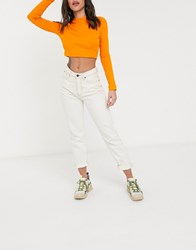 Noisy May Mom Jeans With High Waist Relaxed Fit In Ecru Cream