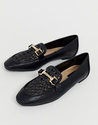 Miss Selfridge Loafers With Woven Front In Black
