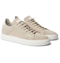 Brunello Cucinelli Leather Trimmed Brushed Suede Sneakers Neutrals