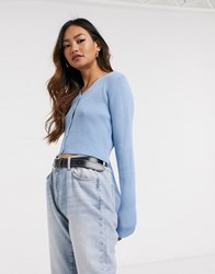 Daisy Street Fitted Cardigan Blue