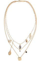 Isabel Marant Vedette Gold Tone Crystal Necklace One Size