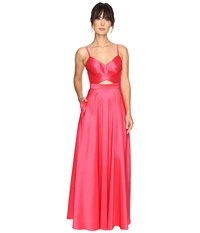 Laundry By Shelli Segal Taffeta Gown W Open Back Coral Rage Women's Dress Red