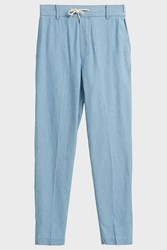 Maison Kitsune Drawstring Cotton Trousers Blue