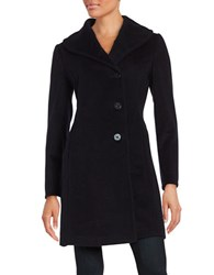 Ellen Tracy Wool Blend Walking Coat Navy Blue