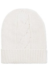 Majestic Filatures Cable Knit Wool And Cashmere Blend Beanie Cream