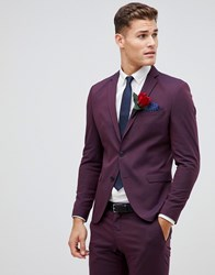 Selected Homme Damson Suit Jacket In Skinny Fit Plum Perfrect Red