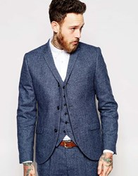 Heart And Dagger Herringbone 3 Button Blazer In Skinny Fit Blue