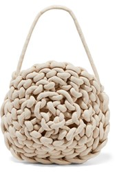 Alienina Ida Woven Cotton Shoulder Bag Off White