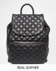 Urbancode Quilted Leather Backpack Black
