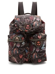 Paul Smith Printed Leather Trimmed Backpack Black Multi