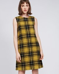 Aspesi Wool Blend Boucle Mini Dress Black Yellow