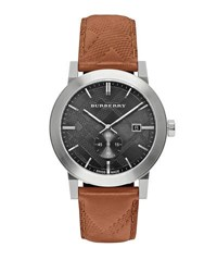 Burberry 42Mm Stainless Steel And Leather City Watch Beige