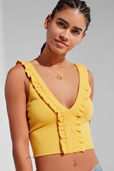 Urban Outfitters Uo Ruffle Y Neck Sweater Tank Top Mustard
