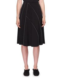 The Row Chouli High Waist A Line Knee Length Skirt With Topstitching Black White