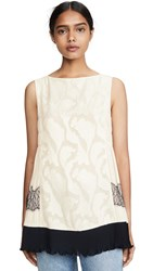 Adeam Pleated Lace Top Ivory