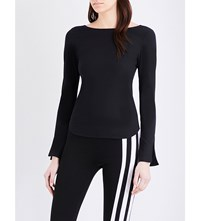 Y 3 Cutout Stretch Jersey Top Black