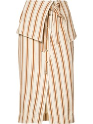 Rosie Assoulin Folded Waist Striped Skirt Women Cotton Linen Flax 6 Nude Neutrals