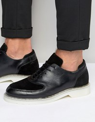 Zign Leather Suede Mix Oxford Shoes Black