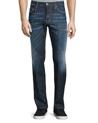 Dsquared Dean Paint Splatter Denim Jeans With Chain Blue