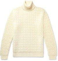 Tod's Cable Knit Merino Wool Rollneck Sweater Cream