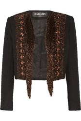 Balmain Embellished Cotton Blend Boucle Jacket Black
