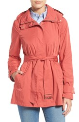 Cole Haan Women's Packable Belted Rain Coat Mineral Red