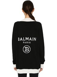 Balmain Logo Intarsia Knit Wool Blend Cardigan Black