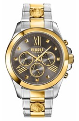 Men's Versus By Versace Chronograph Bracelet Watch 44Mm Silver Gold