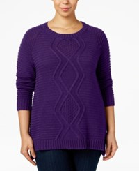 Ny Collection Plus Size Cable Knit Sweater Purple Deco