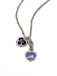 Judith Ripka La Petite Blue Quartz Corundum And Sterling Silver Twin Heart Pendant Necklace Silver Blue