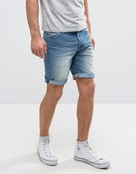 Solid Denim Shorts In Mid Wash 9050 Blue