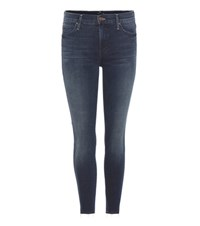 Mother Double Fray Charmer Cropped Jeans Blue