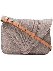 Elena Ghisellini Glitter Crossbody Bag Metallic