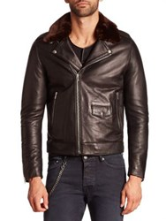 The Kooples Faux Fur Collar Leather Moto Jacket Black