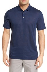 Peter Millar Men's Summertime Linen Polo Barchetta Blue