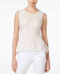 Bar Iii Crochet Peplum Top Only At Macy's Vintage Cream