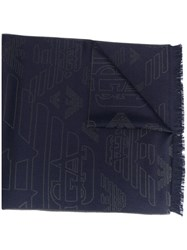 Emporio Armani Logo Embroidered Scarf Blue